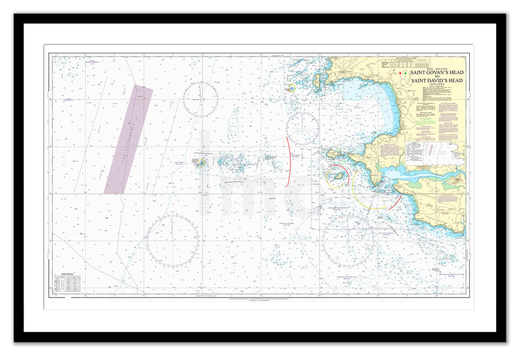 Framed Nautical Chart - Admiralty Chart 1478 - St Govan's Head to St David's Head