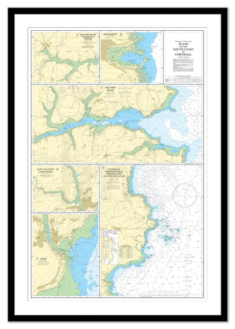 Framed Nautical Chart - Admiralty Chart 147 - Plans on the South Coast of Cornwall