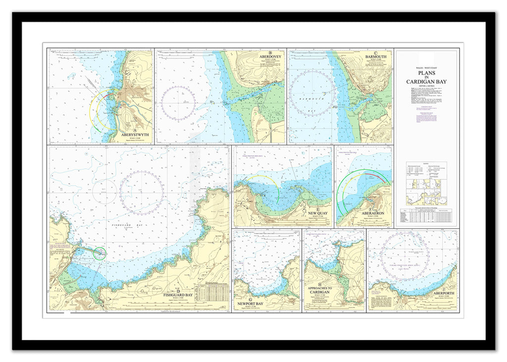 Framed Nautical Chart - Admiralty Chart 1484 - Plans in Cardigan Bay