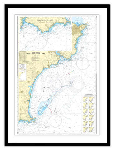 Framed Nautical Chart - Admiralty Chart 1634 - Salcombe to Brixham