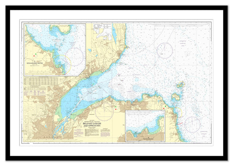 Framed Nautical Chart - Admiralty Chart 1753 - Belfast Lough and Approaches