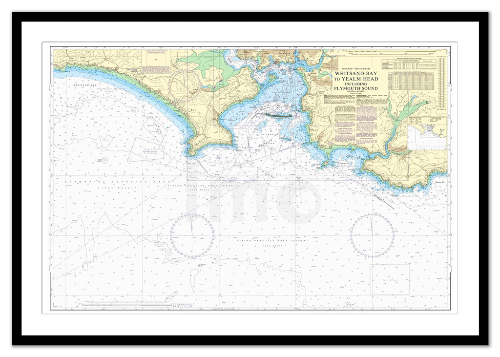 Framed Nautical Chart - Admiralty Chart 1900 - Whitsand Bay to Yealm Head including Plymouth Sound