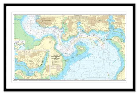 Framed Nautical Chart - Admiralty Chart 1901 - Smeaton Pass and The Narrows