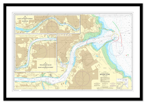 Framed Nautical Chart - Admiralty Chart 1934 - River Tyne