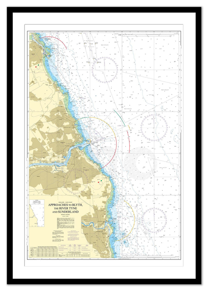 Framed Nautical Chart - Admiralty Chart 1935 - Approaches to Blyth, the River Tyne and Sunderland