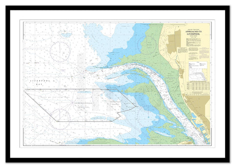Framed Nautical Chart - Admiralty Chart 1951 - Approaches to Liverpool