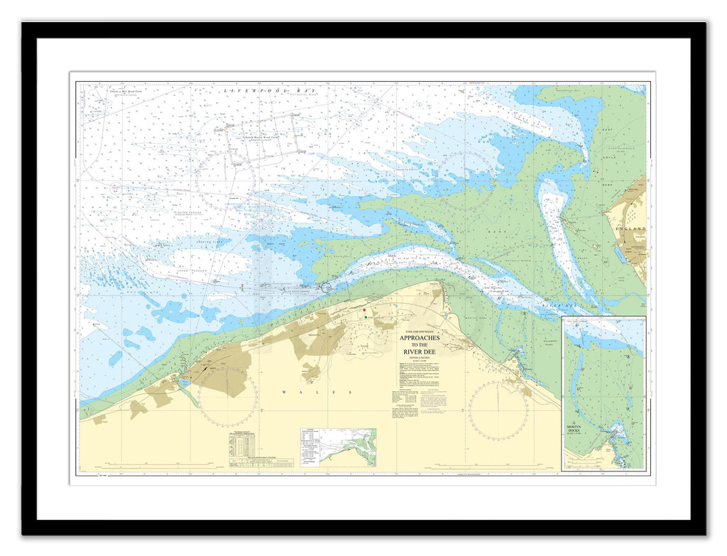 Framed Nautical Chart - Admiralty Chart 1953 - Approaches to the River Dee