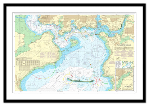 Framed Nautical Chart - Admiralty Chart 1967 - Plymouth Sound