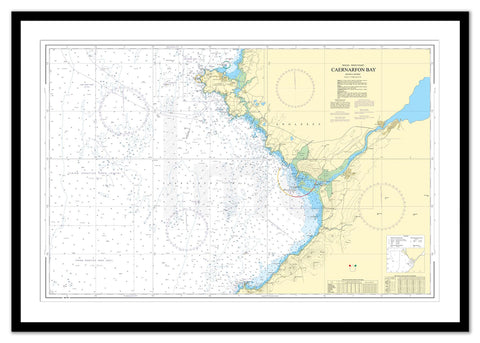 Framed Nautical Chart - Admiralty Chart 1970 - Caernarfon Bay