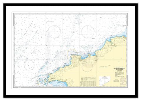 Framed Nautical Chart - Admiralty Chart 1973 - Cardigan Bay Southern Part
