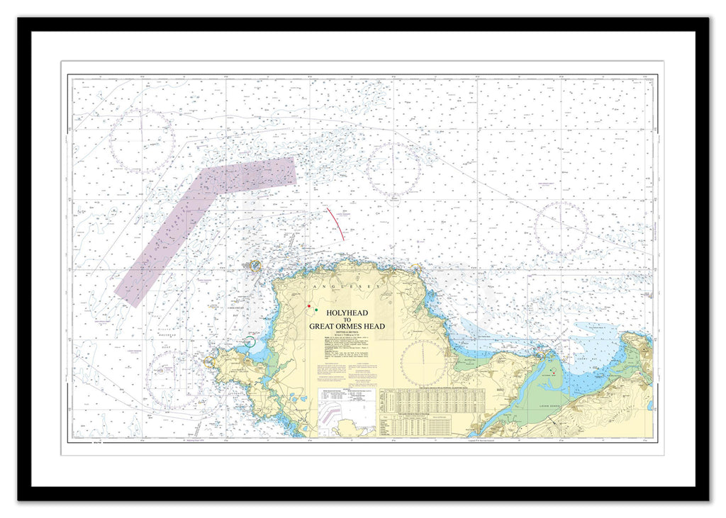 Framed Nautical Chart - Admiralty Chart 1977 - Holyhead to Great Ormes Head