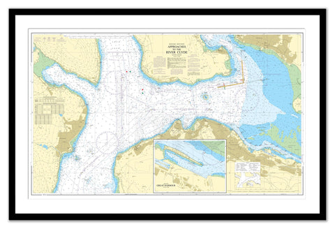 Framed Nautical Chart - Admiralty Chart 1994 - Approaches to the River Clyde