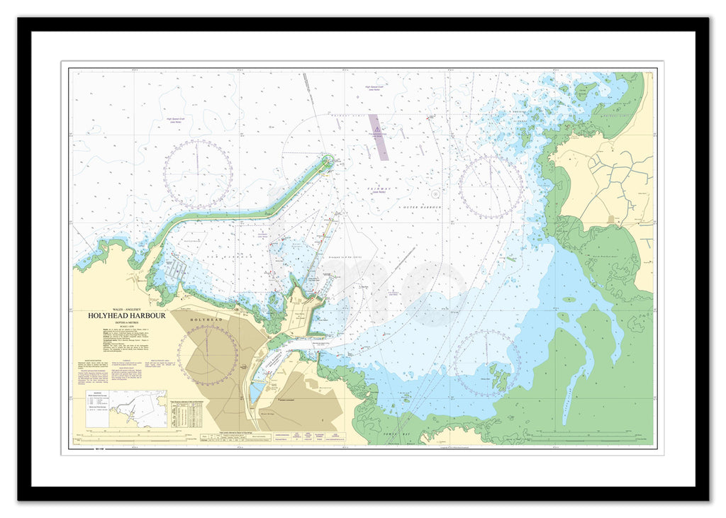Framed Nautical Chart - Admiralty Chart 2011 - Holyhead Harbour