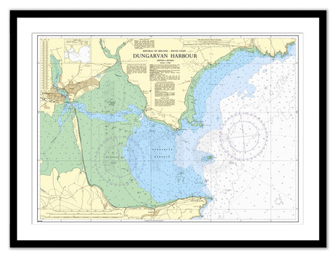 Framed Nautical Chart - Admiralty Chart 2017 - Dungarvan Harbour