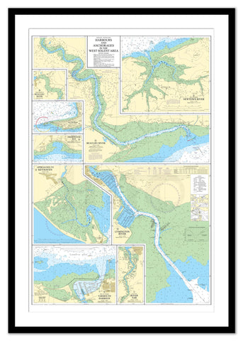 Framed Nautical Chart - Admiralty Chart 2021 - Harbours and Anchorages in the West Solent Area