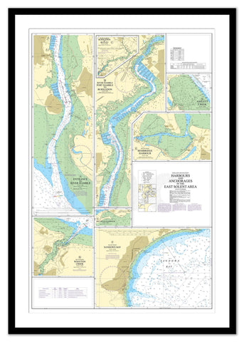 Framed Nautical Chart - Admiralty Chart 2022 - Harbours and Anchorages in the East Solent Area