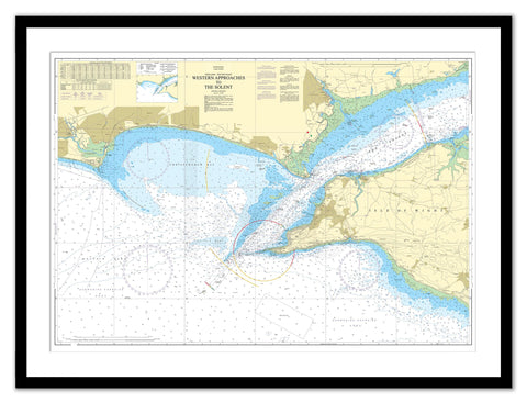 Framed Nautical Chart - Admiralty Chart 2035 - Western Approaches to The Solent