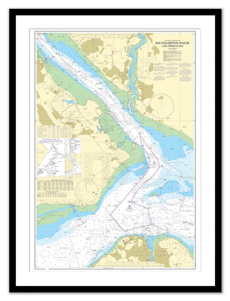 Framed Nautical Chart - Admiralty Chart 2038 - Southampton Water and Approaches