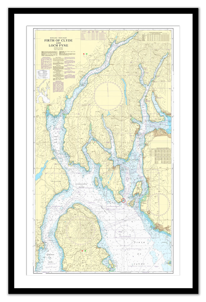 Framed Nautical Chart - Admiralty Chart 2131 - Firth of Clyde and Loch Fyne
