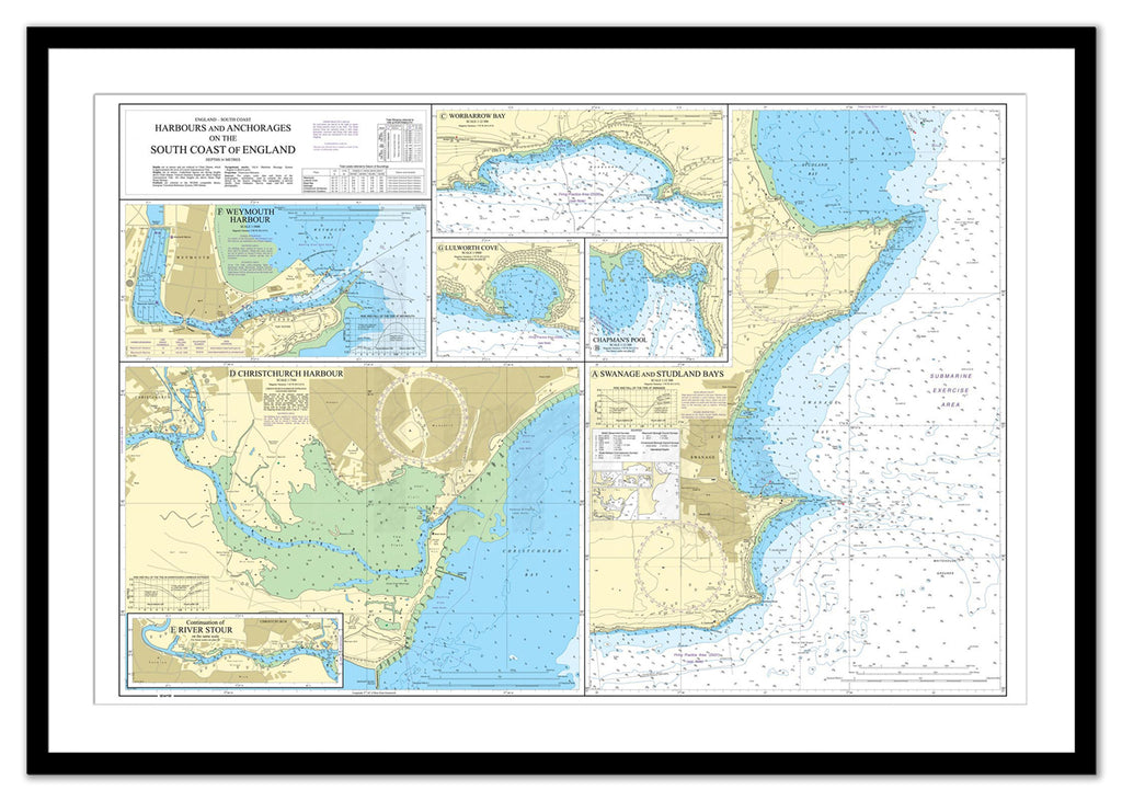 Framed Nautical Chart - Admiralty Chart 2172 - Harbours and Anchorages on the South Coast of England