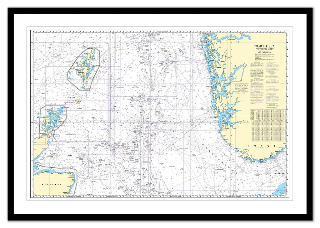 Framed Nautical Chart - Admiralty Chart 2182C - North Sea - Northern Sheet