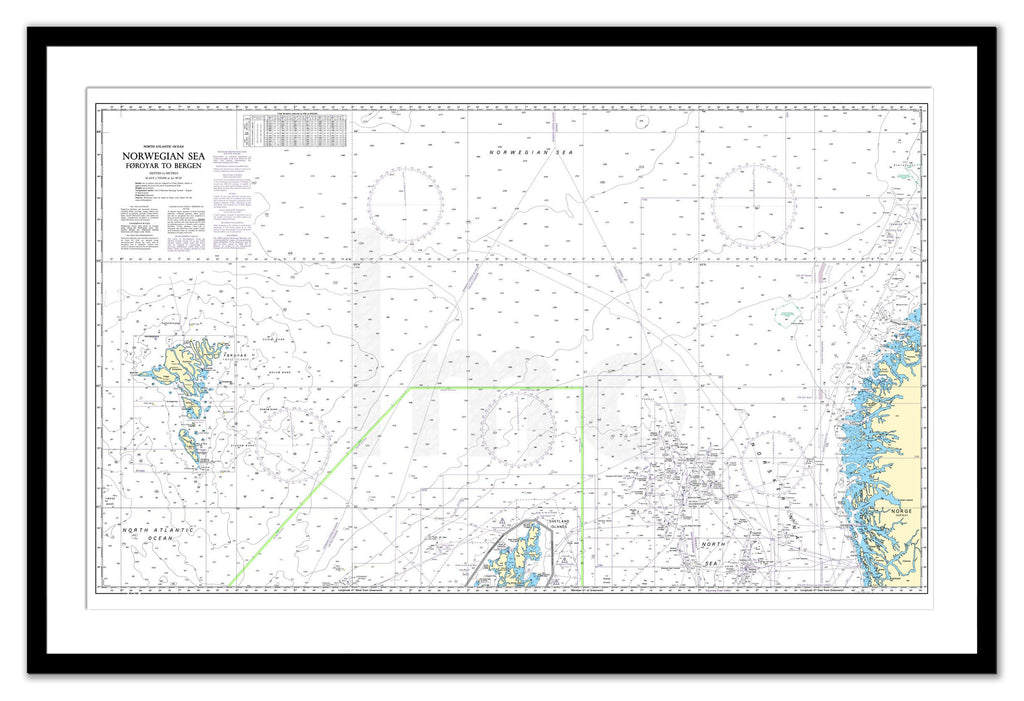 Framed Nautical Chart - Admiralty Chart 2182D - Norwegian Sea - Faeroes to Bergen
