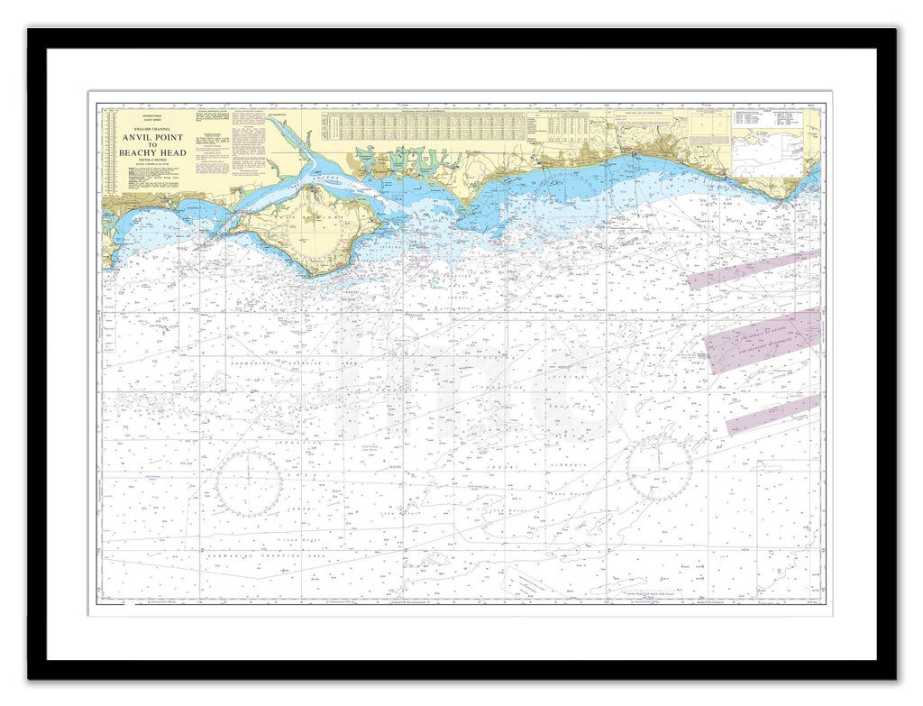 Framed Nautical Chart - Admiralty Chart 2450 - Anvil Point to Beachy Head including the Isle of Wight