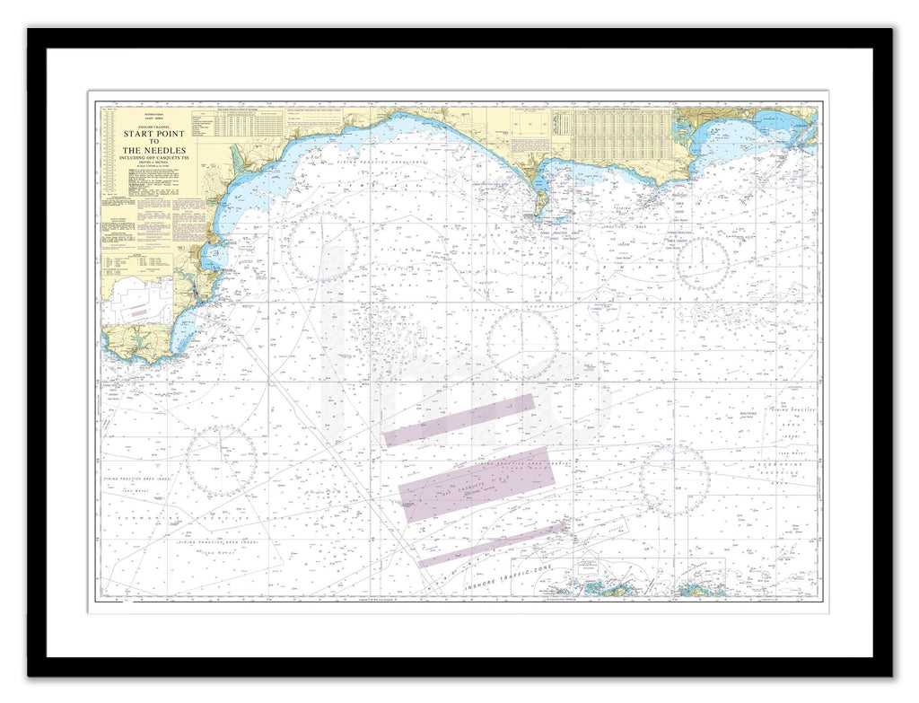 Framed Nautical Chart - Admiralty Chart 2454 - Start Point to the Needles