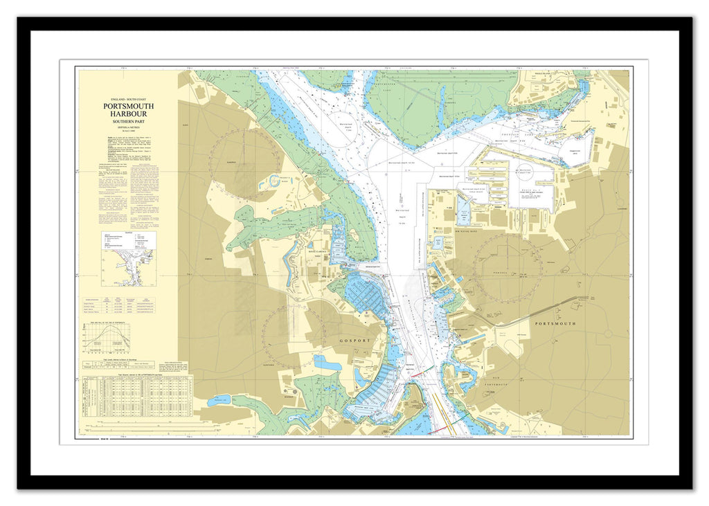 Framed Nautical Chart - Admiralty Chart 2629 - Portsmouth Harbour Southern Part