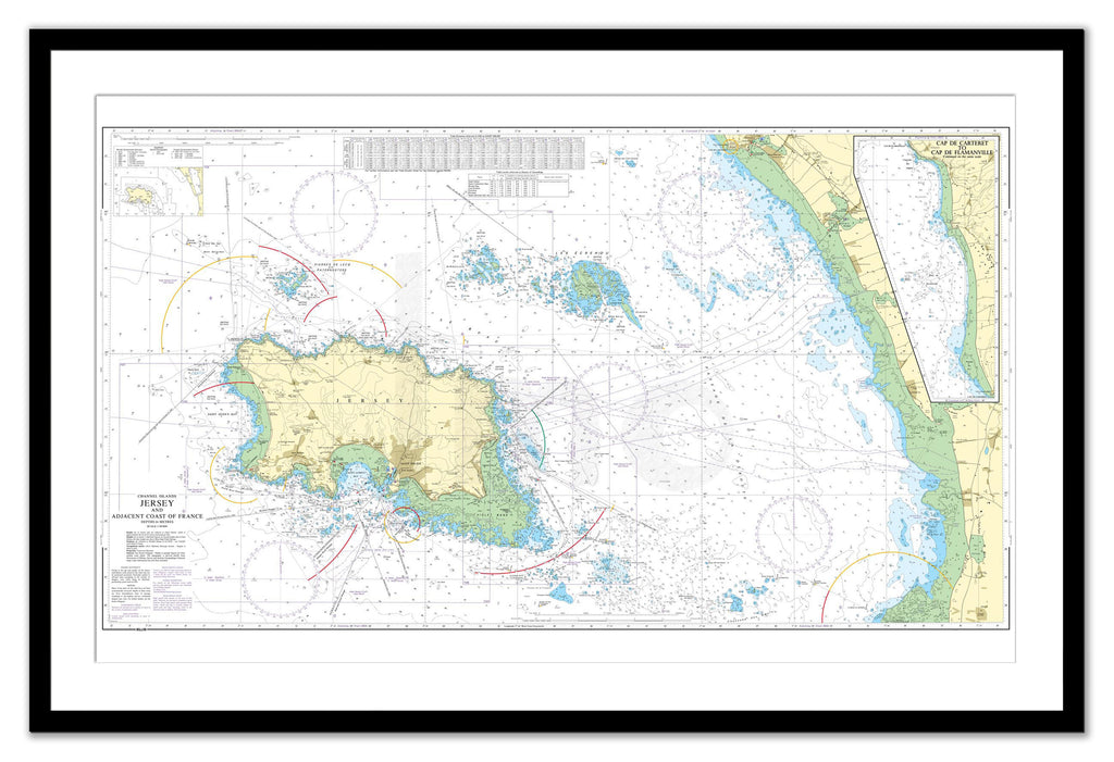 Framed Nautical Chart - Admiralty Chart 3655 - Jersey and Adjacent Coast of France