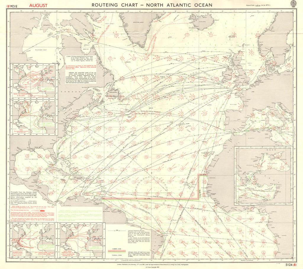 Vintage Nautical Chart - Admiralty Routeing Chart 5124 - North Atlantic Ocean