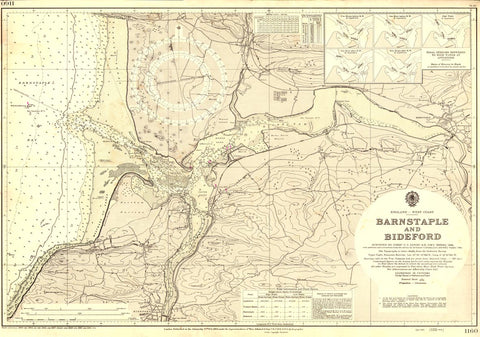 Vintage Nautical Chart - Admiralty Chart 1160 - Barnstable to Bideford
