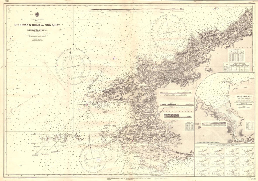 Vintage Nautical Chart - Admiralty Chart 1410 - St Gowan's Head to New Quay