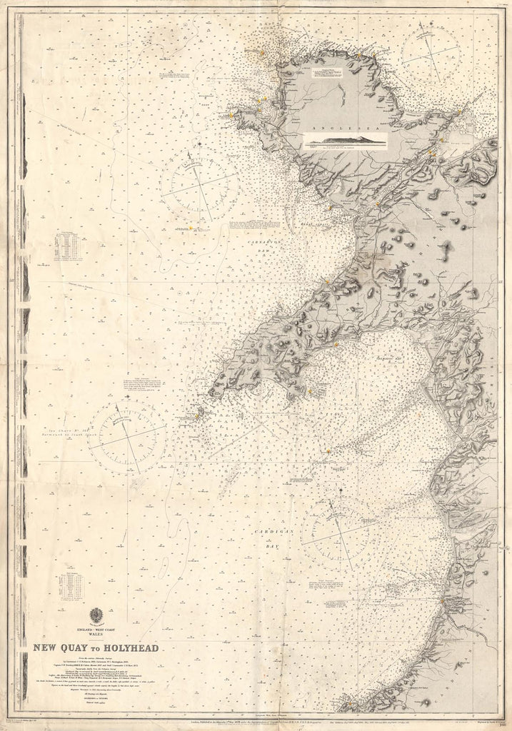 Vintage Nautical Chart - Admiralty Chart 1411 - New Quay to Holyhead