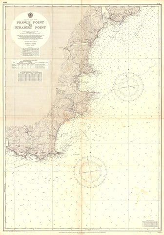 Vintage Nautical Chart - Admiralty Chart 1613 - Prawle Point to Straight Point