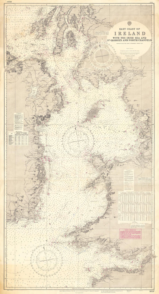 Vintage Nautical Chart - Admiralty Chart 1824a - East Coast of Ireland