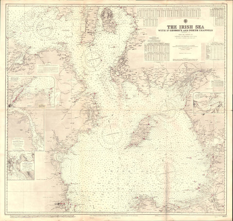Vintage Nautical Chart - Admiralty Chart 1825a - Irish Sea