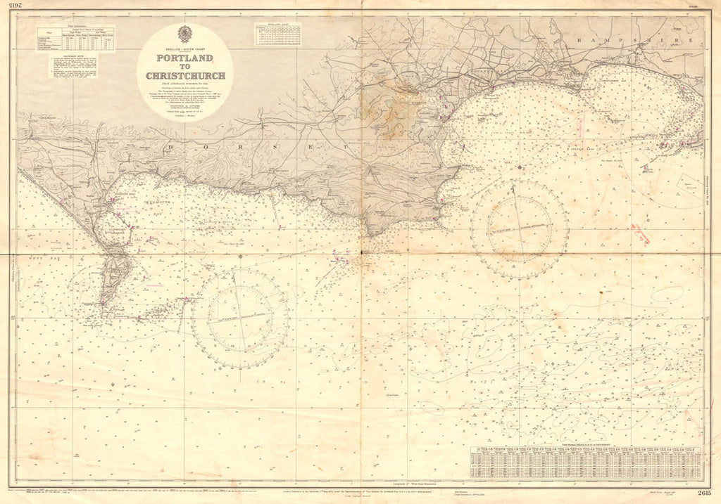 Vintage Nautical Chart - Admiralty Chart 2615 - Portland to Christchurch