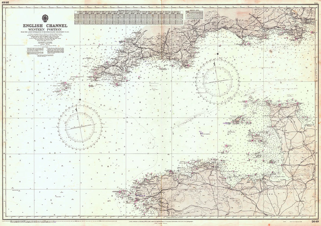 Vintage Nautical Chart - Admiralty Chart 2649 - English Channel, Western Sheet