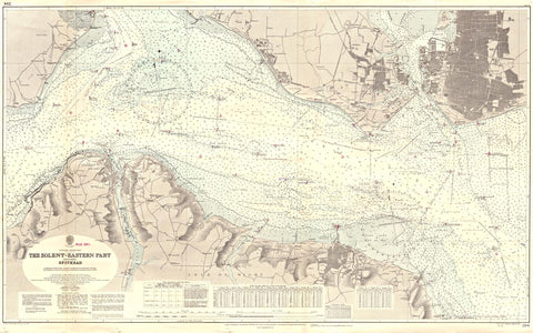 Vintage Nautical Chart - Admiralty Chart 394 - The Solent - Eastern Part