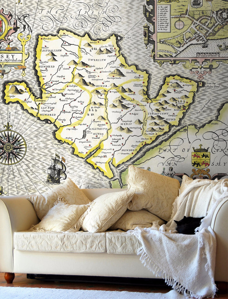 Map Wallpaper - Vintage County Map - Anglesey - Love Maps On... - 1