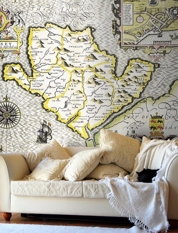 Map Wallpaper - Vintage County Map - Anglesey