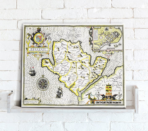 Map Canvas - Vintage County Map - Angelsey
