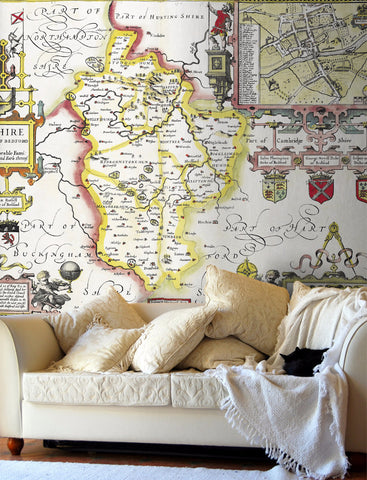 Map Wallpaper - Vintage County Map - Bedfordshire