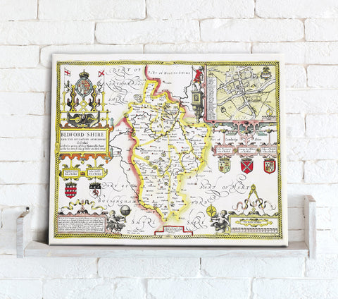 Map Canvas - Vintage County Map - Bedfordshire