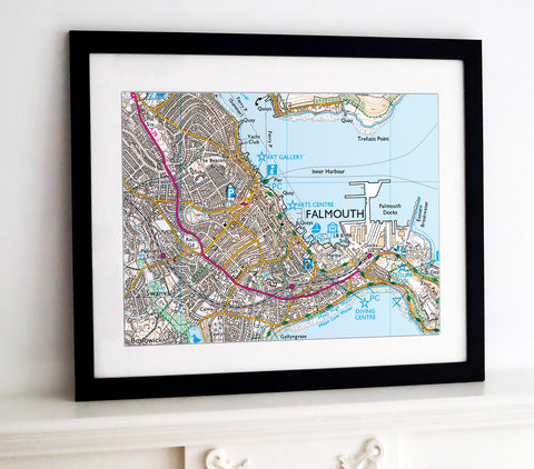 Framed Map - Custom Ordnance Survey Explorer Map