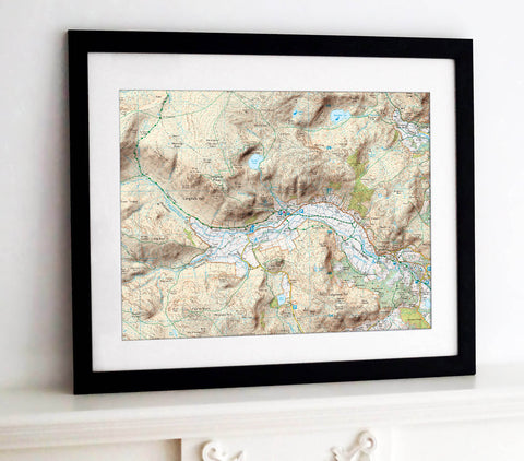 Framed Map - Custom Ordnance Survey Explorer Map with Hillshading