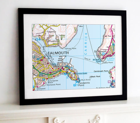 Framed Map - Custom Ordnance Survey Landranger Map