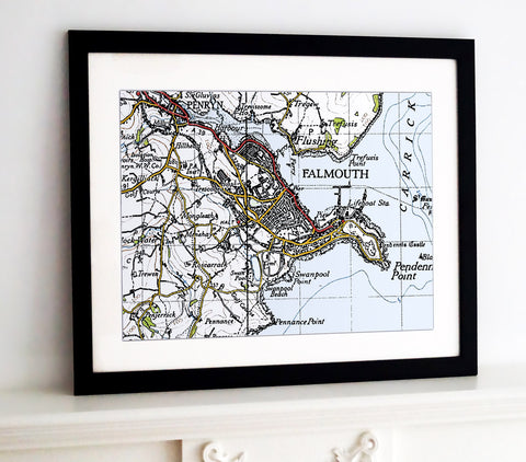 Framed Map - Custom Vintage Ordnance Survey Map - 1940's