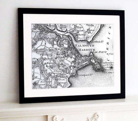 Framed Map - Custom Vintage Ordnance Survey Map - Old Series 1805-1874